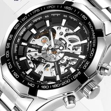 Men'S Business Fashion Hollow Automatic Mechanical Watch Stainless Steel Belt Casual Creative Waterproof Watch loreo authentic automatic mechanical watch waterproof belt diamond fashion luxury elegant hollow lady watch