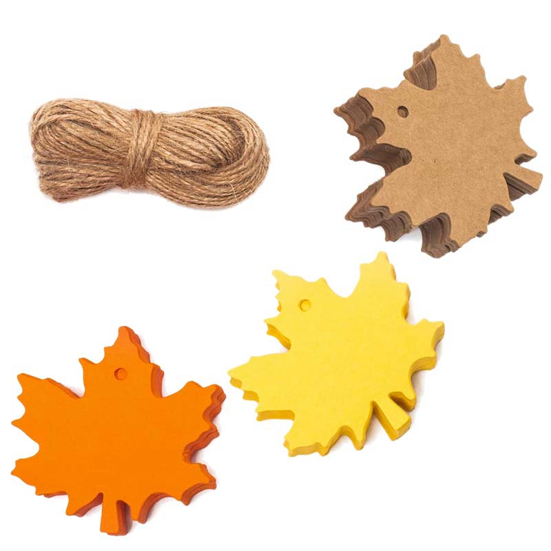 150 Pcs Fall Gift Tags Maple Leaves Favor Paper Tags Favor for Autumn, Thanksgiving, Wedding, Craft Presents
