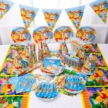 مستلزمات حفلات أعياد ميلاد الأطفال طقم أشكال كرتونية من ويني ذا بو فستان أعياد ميلاد للأطفال لوازم كؤوس مفرش مائدة من قش الأطباق