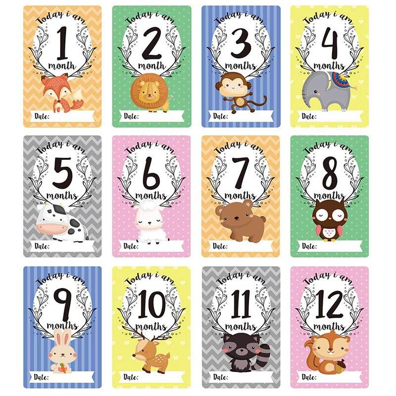 12 Pcs / Set Milestone Photo Sharing Cards Gift Set Baby Age Cards Baby Milestone Cards Baby Photo Cards