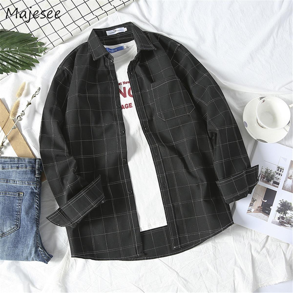 Shirt Men Long Sleeve Autumn New Korean Clothes Mens Shirts Casual Harajuku Tops Hot Sale Males Single Breasted Comfortable
