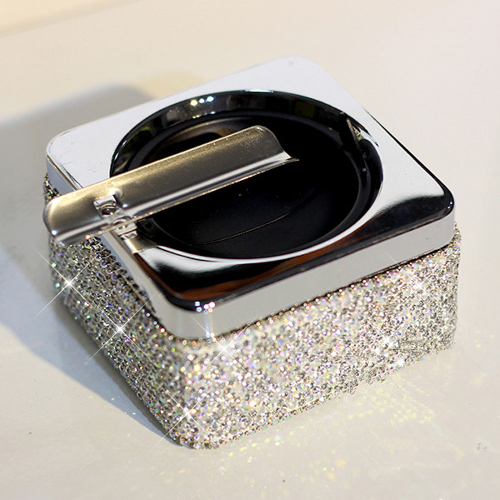 Portable Ashtray Crystal Rhinestones White Crystal Home Office Use Ashtray For Women Gril Gift