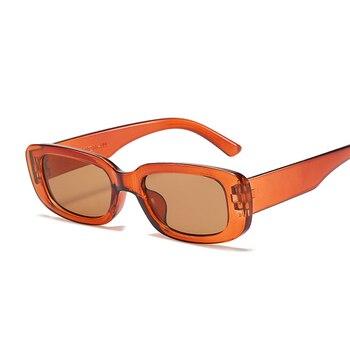 2021 Square Sunglasses Women Luxury Brand Travel Small Rectangle Sun Glasses Female Vintage Retro Oculos Lunette De Soleil Femme - Brown