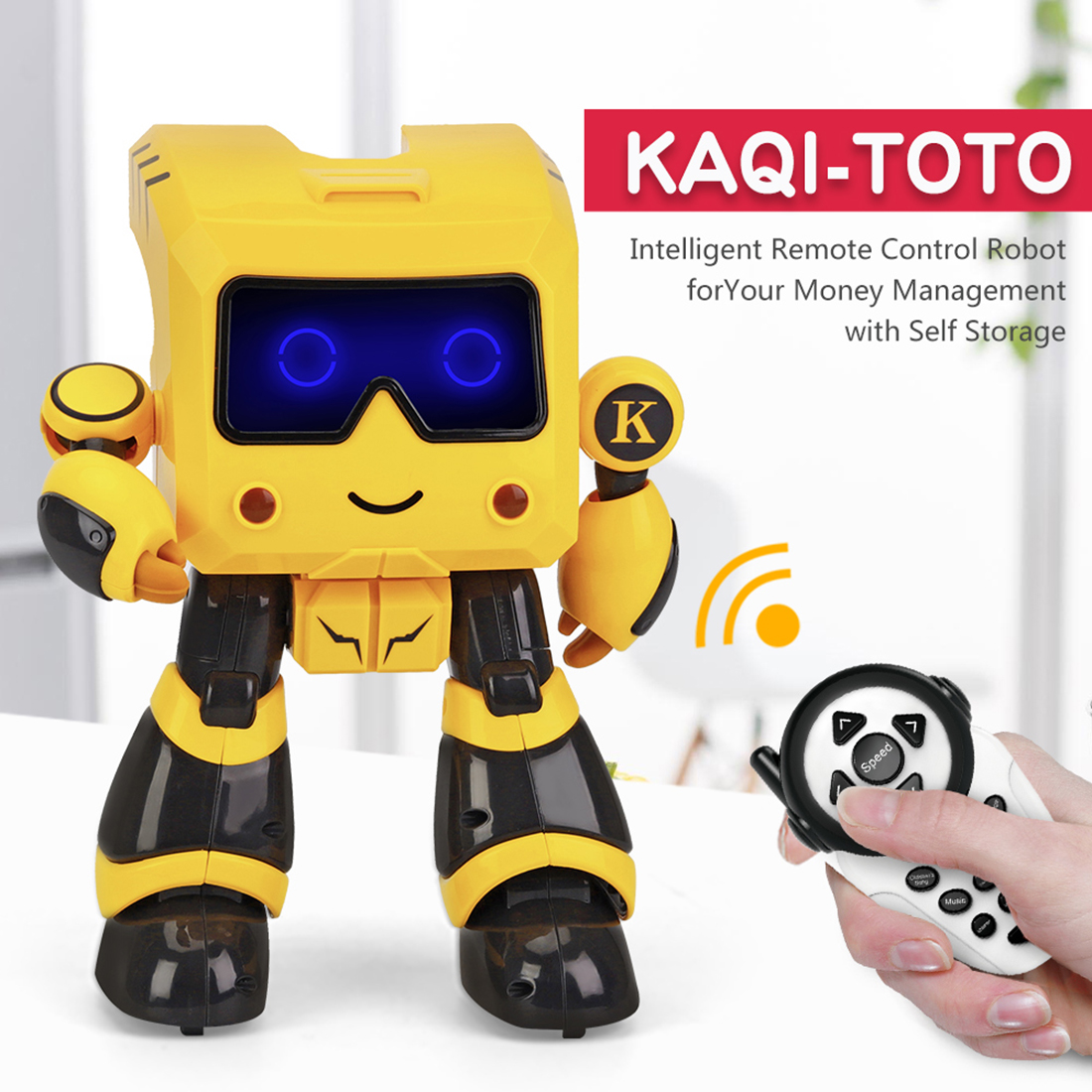 ITECHOR R17 Children Remote Control Intelligent Education Robot Toy With Touch Sensitive Dancing Recognition Robot- Yellow