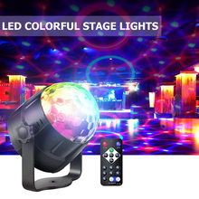 Sound Activated Rotating Disco Ball Party Show Lights 3W RGB Stage Light Voice Control Laser Projector For Christmas KTV Wedding(China)