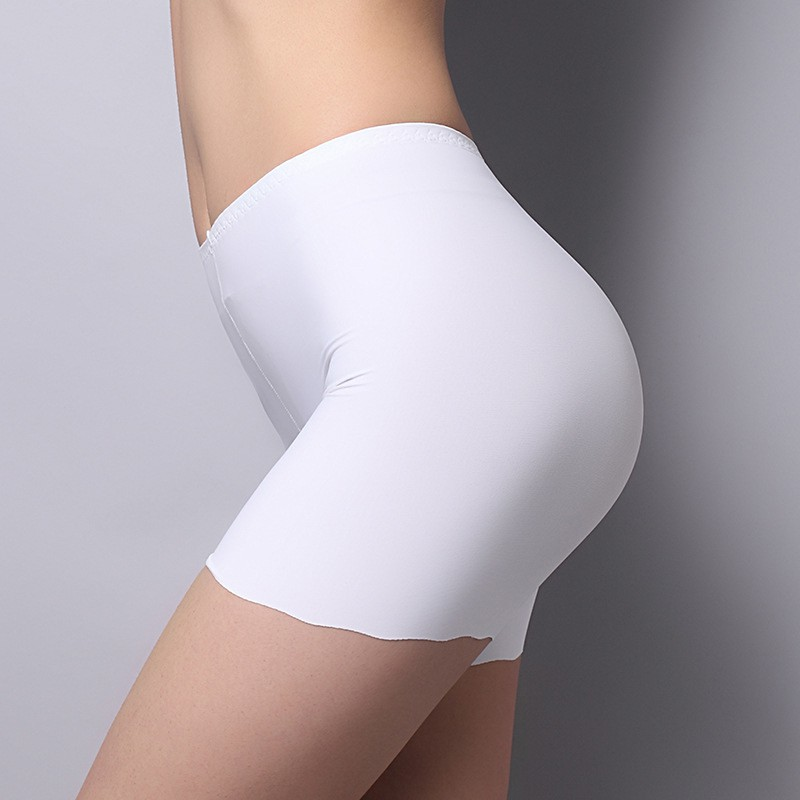 Ice Silk Mid Waist Panties Women Safety Shorts Pants Seamless Sexy Underwear Boxer Femme Breathable Briefs