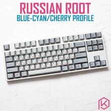 kprepublic 139 Russian root Russia font language blue cyan Cherry profile Dye Sub Keycap PBT for gh60 xd60 xd84 tada68 87 104