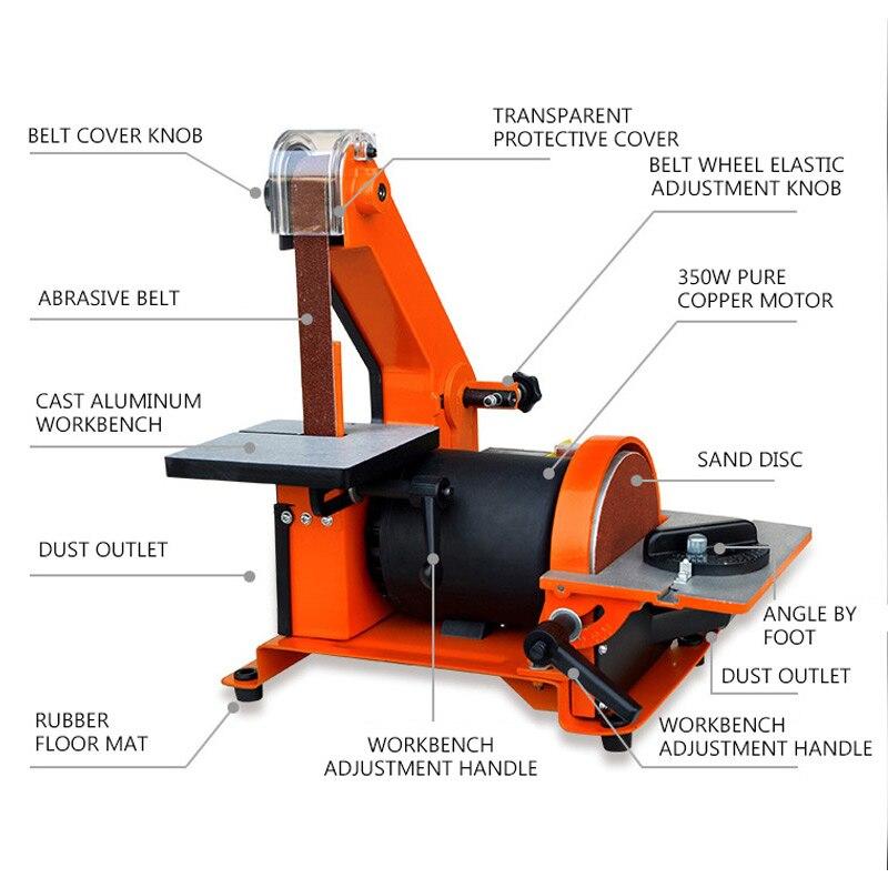 Grinding Machine Woodworking Copper Knife Polisher Sanding Grinder Color Metal Table Machine Sander Chamfering Belt Random Motor
