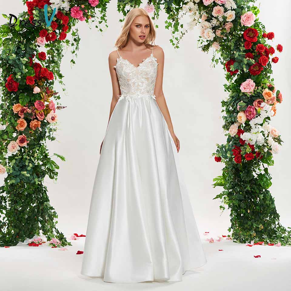 Dressv Ivory A Line Wedding Dress Spaghetti Straps Sleeveless Appliques Floor Length Bridal Outdoor&church Wedding Dresses