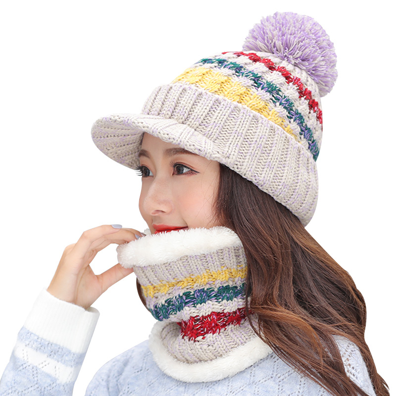 girl winter   skullies     beanies   knitted Hat Women Brand High Quality Winter Women Ball Ski wool Fur Hat PomPoms Hats knitted scarf