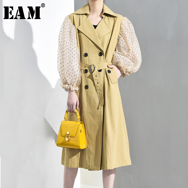 [EAM] Women Dot Mesh Double Breasted Big Size Trench New Lapel Lantern Sleeve Loose Fit Windbreaker Fashion Spring 2020 JH394