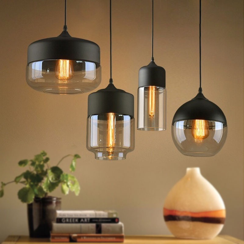Metal Industrial Glass <font><b>Pendant</b></font> <font><b>Light</b></font> Black Loft Bar Counter Dining Room Personality Creative Glass Ceiling Hanging Lamp image