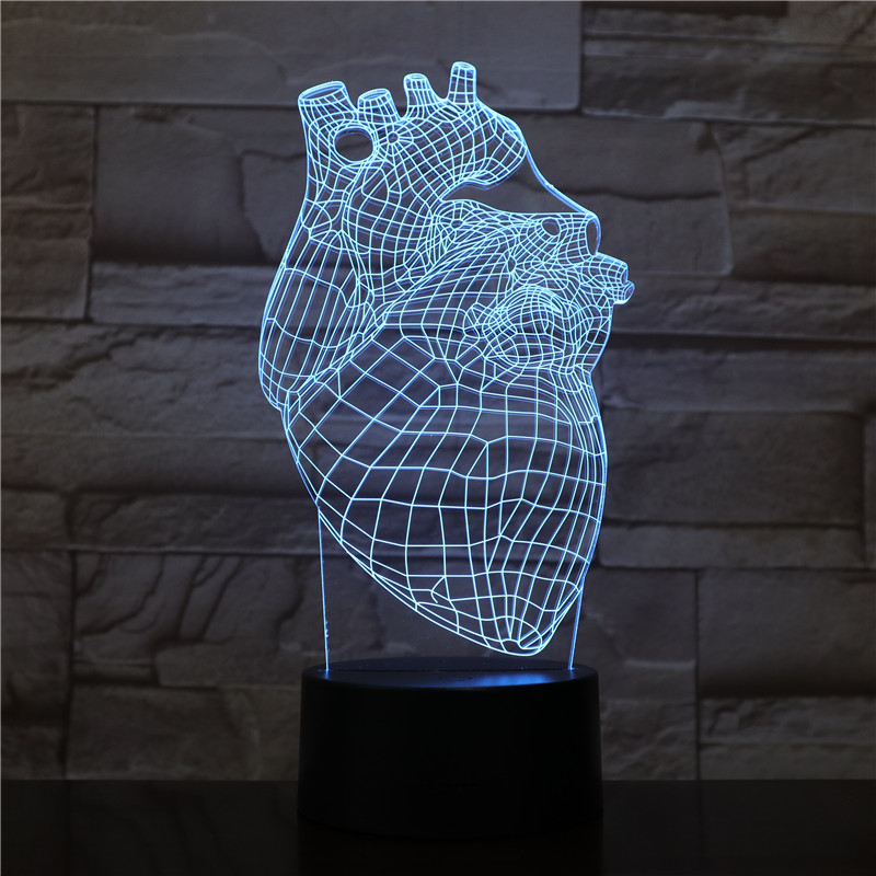 The Heart Shape 3D Lamp Battery Powered 7 Colors with Remote Cool Present for Children Atmosphere