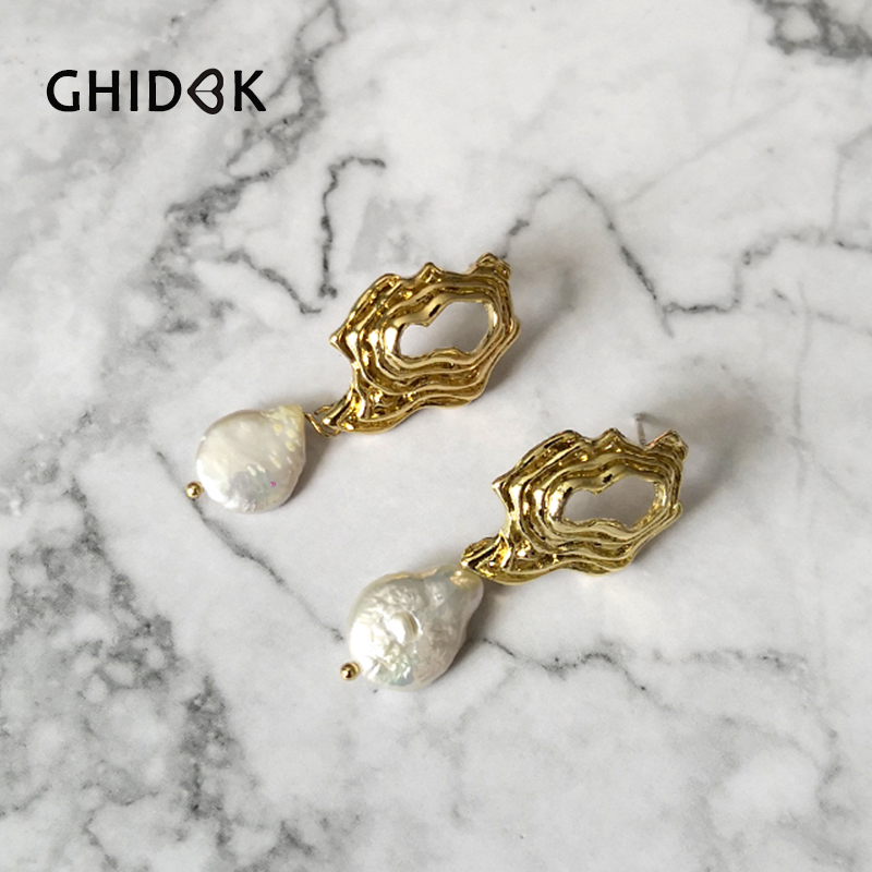 GHIDBK Baroque Freshwater Pearl Stud Earrings Irregular Texture Hollow Earring Studs with Natural Flat Pearl Gold Dainty Earring