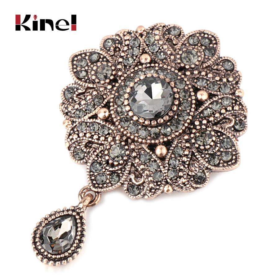 Kinel Vintage gris cristal fleur turc broche broche pour femmes Antique or Arabesque strass broche revers écharpe Broches