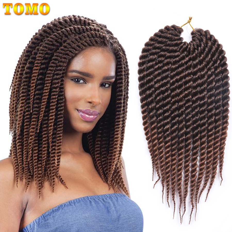 TOMO Hair 12 18inch 12roots/Pack Senegalese Twist Synthetic Braiding Hair Extensions Black Brown Green Color Ombre Crochet Hair