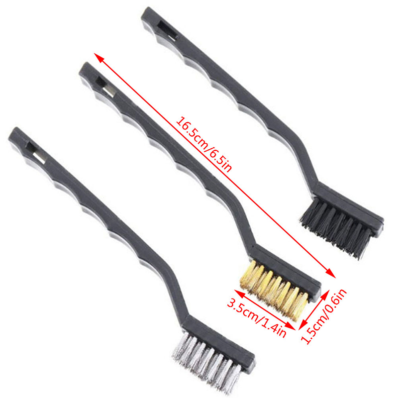 3Pcs/lot Mini Stainless Steel Rust Brush Brass Cleaning Polishing Detail Metal Brush Wire Toothbrush Cleaning Tool Family Kit