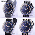 4 модели BLIGER синий циферблат с автоматическим заводом мужские часы Автоматическая Дата нейлоновый ремешок 41 мм Автоматические наручные час...