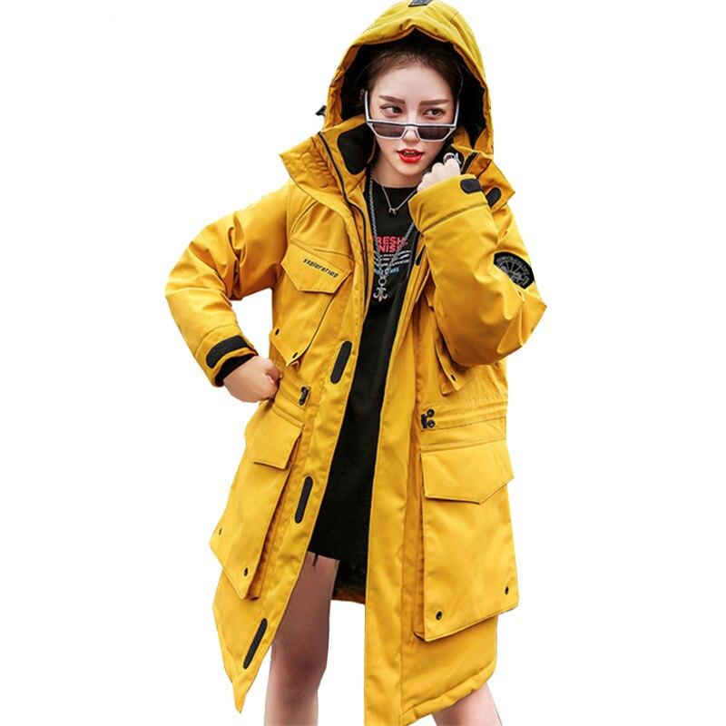 New Parka Winter jacket women Hooded Cotton padded coat Fashion Big pocket Zipper thick Warm padded jacket Loose women overcoat