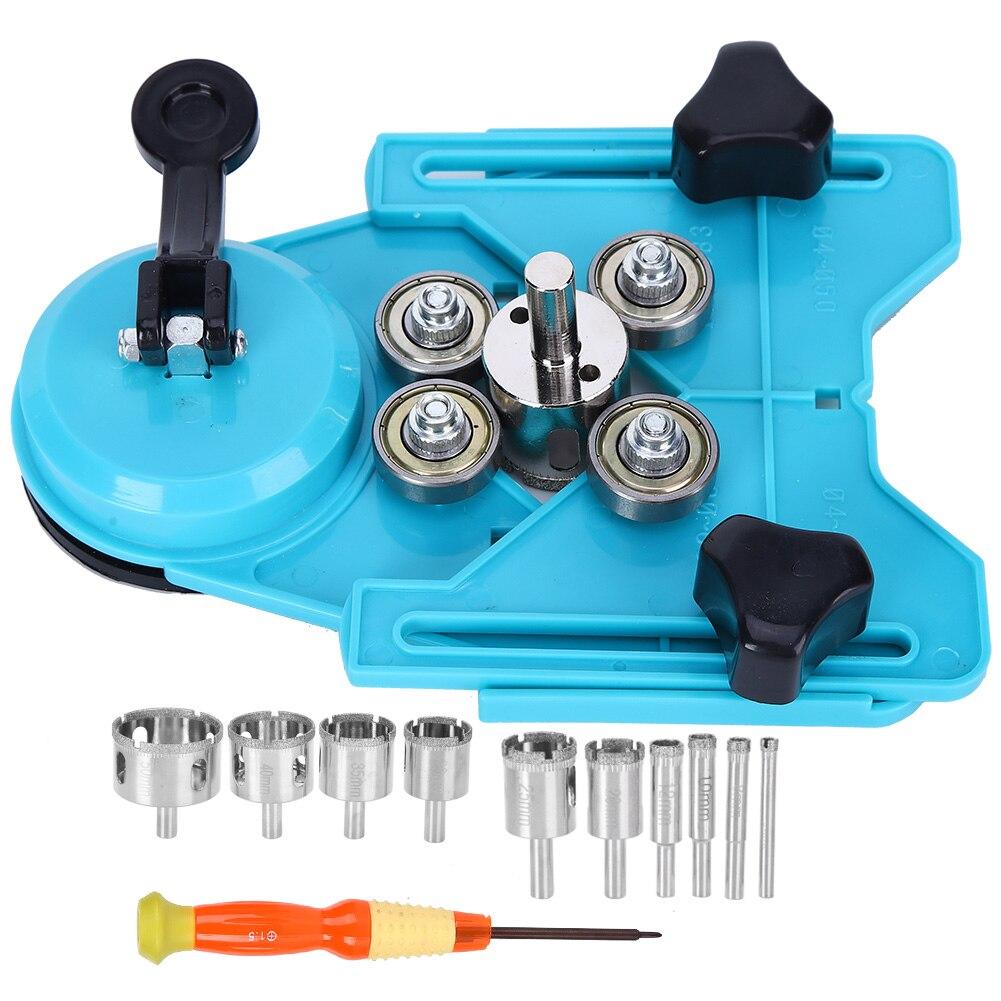 12 pièces scie cloche localisateur Guide de forage Base sous vide ventouse trou scie ensemble avec 6mm-50mm diamant forets carrelage verre ouvertures localisateur