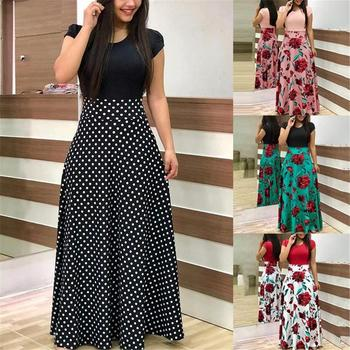цены 2020 Women Plus Size Bohemian Long Sleeve Maxi Dress Color Block Polka Dot Floral Patchwork Bodycon Empire Waist Vintage