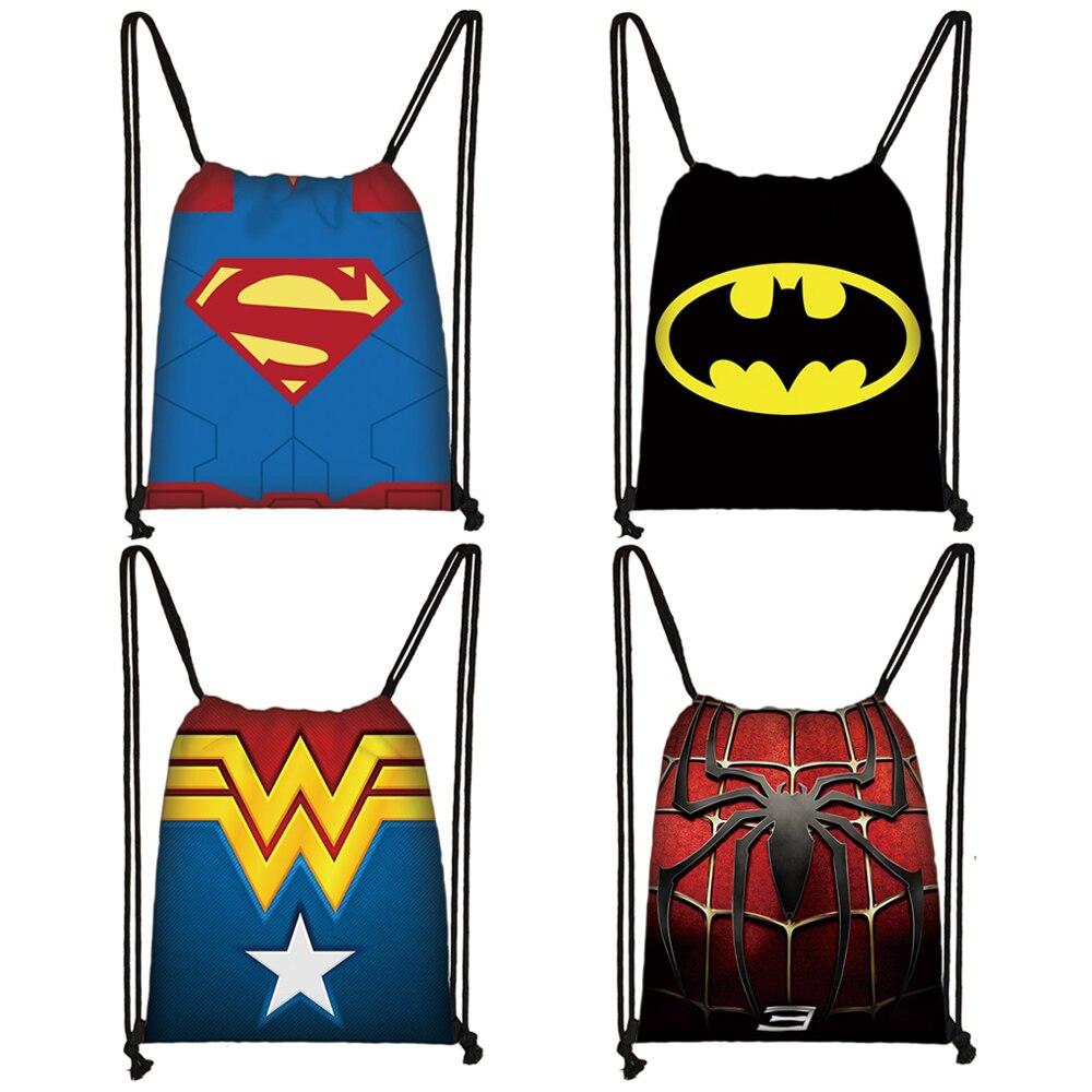 Superhero Batman Superman Spiderman Drawstring Bag Teenager Boys Girls Storage Bag Men Women Casual Backpack Kids Bookbag Gift