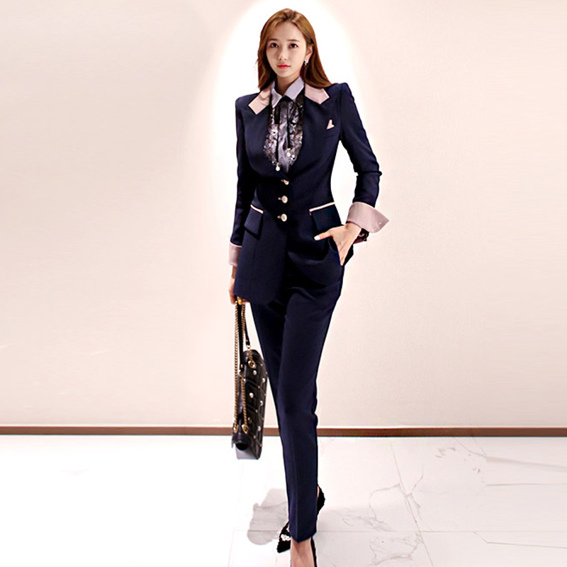 Womens Suits Set 2 Pieces Blazer And Pants Office Business 2020 Spring Dark Blue Jacket Pink Cuffs Professional 2 Piece Outfits