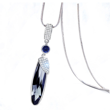 Water Drop Crystal Long Necklace Woman Fashion Silver Snake Chain CZ Rhinestone Pendant Necklaces Winter Sweater Chain For Women цены