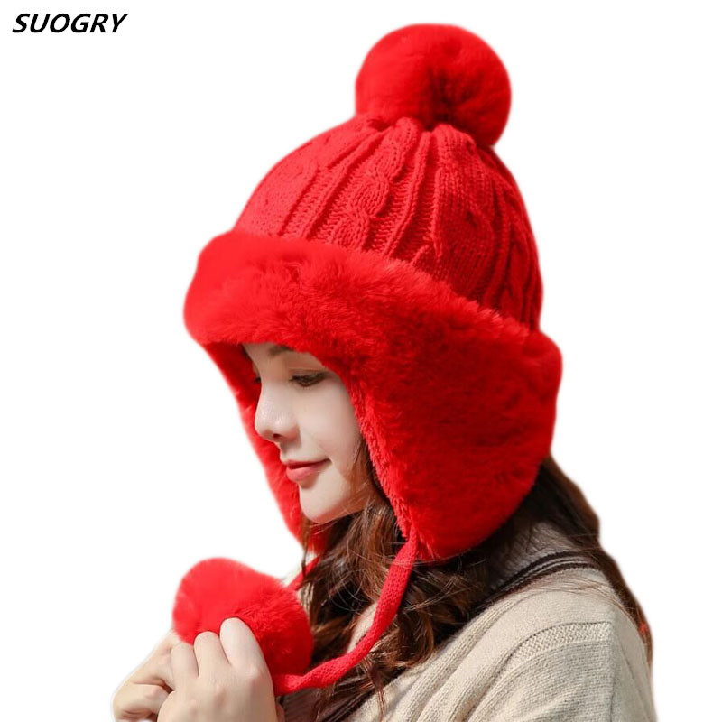 High Quality Rabbit Fur Hat Thick Warm Women Winter Hat Lady Ear Flap Knitted Hat Female Fur Pompoms Russian Hat Beanies