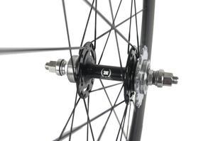 Image 4 - Paire de roues en carbone 38/50 mmpneu roues de vélo de piste 700Cx23 3 K/UD moyeu Novatec mat 20/24 trous roue dentée fixe unique