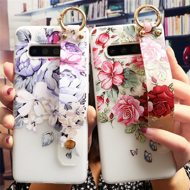 Wrist Strap Flower Girl Case For Samsung Galaxy S10 S20 Ultra S8 S9 Plus A40 A50 A70 A71 A51 A21S A31 A41 M31 M11 Soft TPU Case