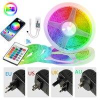 Diodo RGB Flexible de tiras de luz LED para decoración, lámpara de retroiluminación impermeable, cadena luminosa, SMD, Bluetooth, controlador WIFI