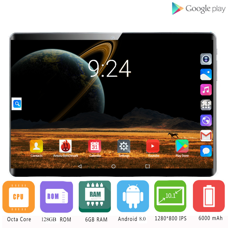 2020 Super Tempered 2.5D Glass 3G 4G LTE 10.1 Inch Tablet Pc Octa Core 6GB RAM 128GB ROM 1280x800 IPS WIFI Android 8.0 GPS 10