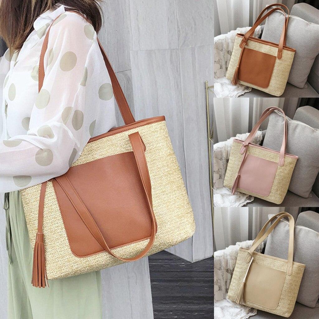 Fashion Women's Hit Color Woven Tassel Handbag Shoulder Bag Beach Bag