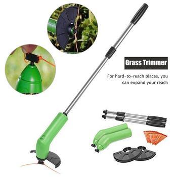 Electric Grass Trimmer Handheld Cordless Grass Cutter Machine Line Trimmer Ajustable Shaft Rotation Tube Garden Tool Garden Tool
