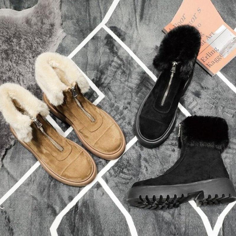 Warm Women Snow Boots Winter Fur Ankle Boots Black Chunky Suede Shoes Ladies 2020 Fashion Casual  Plush Platform Shoes  VT1529