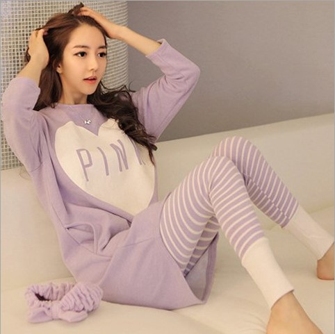 Korean-style Long Sleeve Qmilch Pajamas WOMEN'S Suit Spring And Autumn Summer Thin Section Plus-sized Women's Home Wear