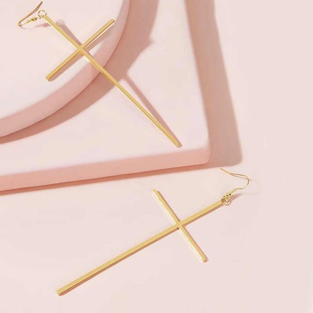 Çapraz Dangle küpe basit moda kadınlar abartmak zarif çapraz bırak Dangle küpe