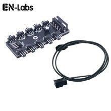 Adaptateur de répartiteur de câble électrique pour ventilateur de refroidissement, 10 Ports PWM 4 broches, avec autocollant, alimentation par IDE Molex 4 broches
