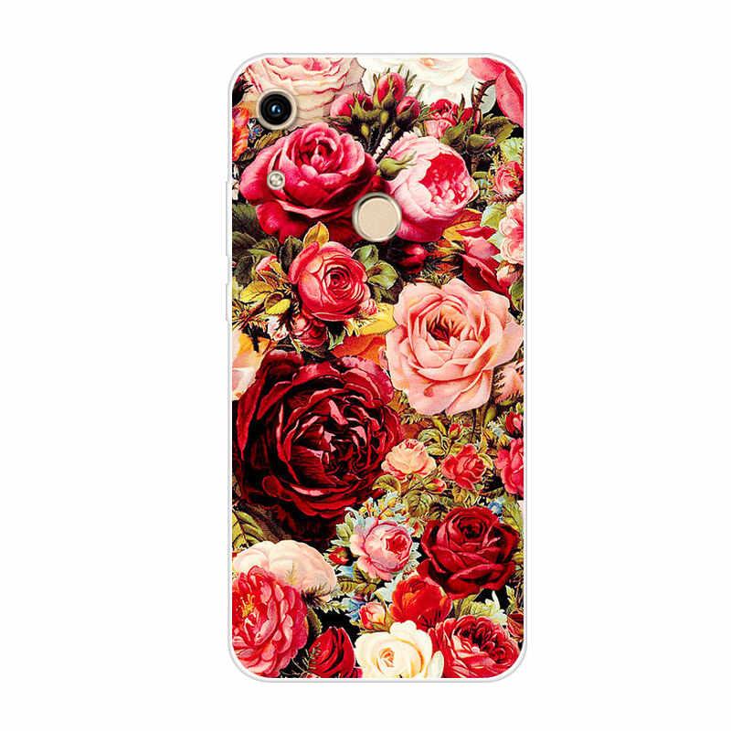 Untuk Huawei Kehormatan 8A Pro Case Bunga Lembut TPU Fundas Silikon Cover untuk Huawei Honor8A Pro A8 8 Pro JAT-L41 Telepon Kembali Kasus