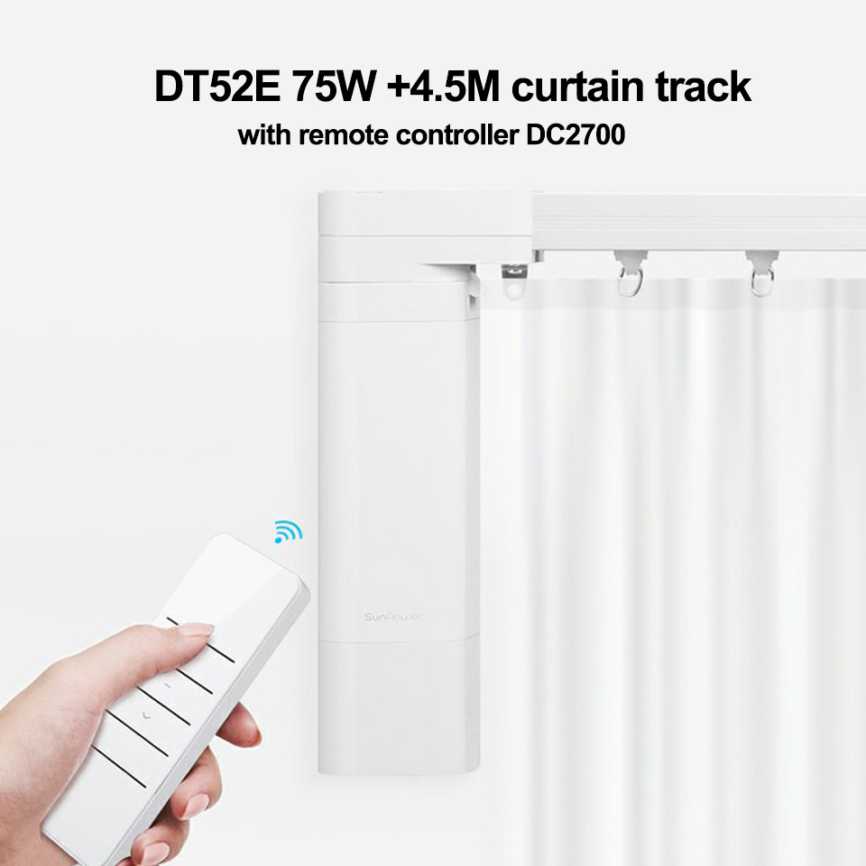 Customizable Super Quite Electric Curtain Track Set 4.5M+ Dooya DT52E 75W Motor+ RF433Remote Controller DC2700 For Smart Home
