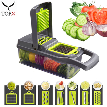 Multifunctional Vegetable Cutter 7Dicing Blades Mandoline Slicer Carrots Peeler Potato Cheese Grater Chopper Kitchen Accessories