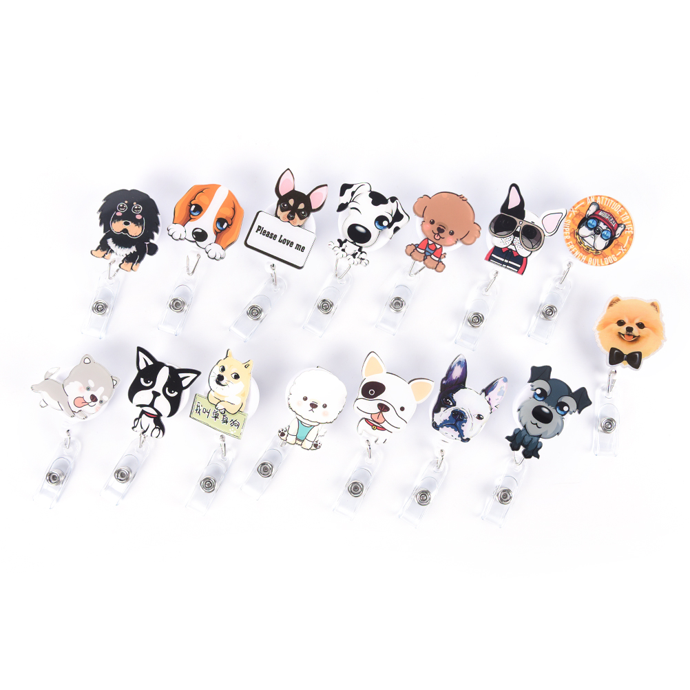 1pc Cute Mini Cartoon Dog Retractable Badge Reel The New Student Nurse Exihibiton ID Name Card Badge Holder Office Supplies