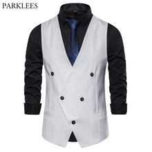 Белое двубортное приталенное пальто для мужчин, новинка весны, приталенный мужской жилет без рукавов, деловой свадебный жилет, Chaleco Hombre
