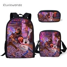 ELVISWORDS Fashion Kids Backpack COCO Pattern Students School Bags Toddler Girls 3PCs Set Backpack/Flaps Bags/Pen Bag