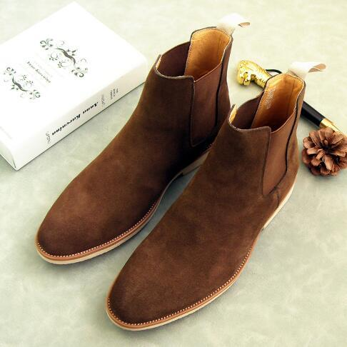 Men New Lightweight Slip-on Boots Genuine Leather Retro High-top Casual Boots Suede Flat Martin Boots Big Size 46