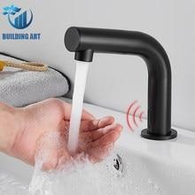 Bronze preto sensor inteligente bathroomfaucet bacia torneira da pia quente e fria misturador guindaste da bacia pop up dreno