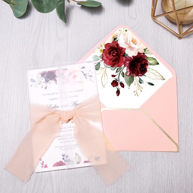 50 قطعة بطاقات دعوات الزفاف ، دعوة استحمام الطفل ، عيد ميلاد ، دعوات العشاء ، جيب وردي مع زهرة