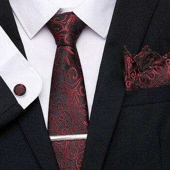 100%Silk Tie Set for Men Wedding Party Accessories  Business Hanky Handkerchief Cufflink Tie Clip Suit Necktie 7.5cm Wide Tie