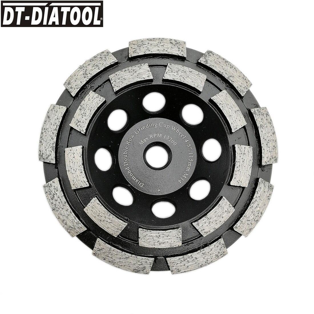 Rebolo para Concreto Dt-diatool Thread Diâmetro 115mm – 4.5 Polegada Diamante Dupla Fileira Copo Pedra Dura Mármore Mranite 1pc M14